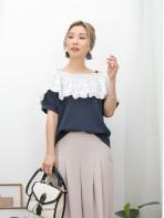 2011-1245-健康・性感- 胸位RUFFLE X 通花刺繡恤衫料 , 暗直紋恤衫料 X 前 , 後V領TOP (韓國)-