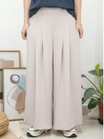 2015-1082A -斯文・氣質-單邊拉鏈 X 後腰橡根 X 前腰打摺 , 兩側袋 X 滑滑料闊褲 (韓國)-