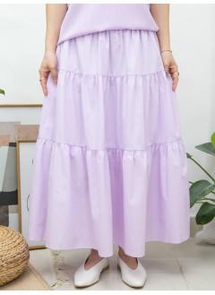 2015-1083- 百搭・Aline - 層層打摺 X 橡根腰 , 恤衫料半截裙 (有厘布) (韓國)0