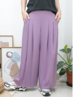 2015-1082B - 斯文・氣質 -單邊拉鏈 X 後腰橡根 X 前腰打摺 , 兩側袋 X 滑滑料闊褲 (韓國)