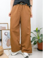 2015-1084A - 夏日・麻棉 -兩側袋 X 橡根腰 X RUFFLE邊 , 麻棉料闊褲 (韓國)