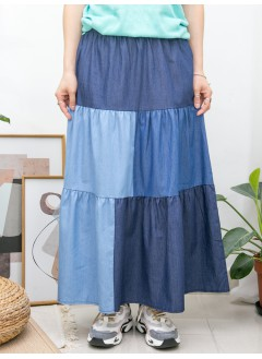 2015-1085- 日系・藍調 - 層層打摺 X 深淺拼色 , 橡根腰 X 恤衫料半截裙 (韓國)
