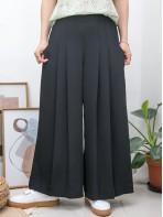2015-1082-斯文・氣質- 單邊拉鏈 X 後腰橡根 X 前腰打摺 , 兩側袋 X 滑滑料闊褲 (韓國)