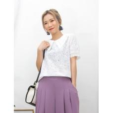 2011-1242A - 復古・蕾絲 -袖口通花LACE X 通花刺繡恤衫料 , 反領TOP (韓國)0