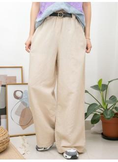 2015-1084 -夏日・麻棉-兩側袋 X 橡根腰 X RUFFLE邊 , 麻棉料闊褲 (韓國)