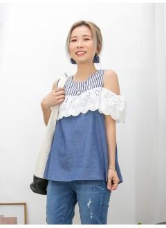 2011-1237A - off shoulders 系列 -胸位 , 手袖通花刺繡恤衫料 , 領位直紋麻棉料 X 暗直紋恤衫料 , OFF SHOULDERS TOP (韓國)0