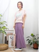 2011-1264 -lovely・lady-手袖DOUBLE LAYER通花LACE網布 X 點點網布 , 英文字PRINT X COTTON料TOP (韓國)0