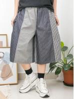 2015-1090 - 獨特・日系 -兩側袋 X 橡根腰 , 大, 細格仔麻棉料 X 直紋薄牛仔料闊褲 (韓國)0