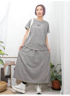 2011-1248-set・裝-星星PRINT X COTTON料TOP + 兩側袋 X 橡根腰 , COTTON料半截裙 (SET) (韓國)