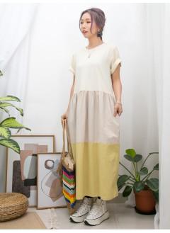 2016-1048A - 三色裙 -兩側袋 X 下擺拼色麻棉料 X 拼色COTTON料OPS (韓國)-