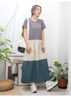 2016-1048-三色裙- 兩側袋 X 下擺拼色麻棉料 X 拼色COTTON料OPS (韓國)-