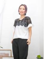 2011-1249- 黑白・氣質 - 膊位 , 手袖格仔網布 X 胸位通花LACE , 袖口小開叉 X RUFFLE , 淨色恤衫料TOP (韓國)0
