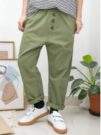 2015-1088A- 日系・男友 - 兩側袋 X 橡根腰 ,  扯布料 X 少低浪褲 (韓國)