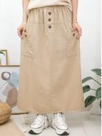 2015-1093- 優美・日系 - 前兩袋 X 橡根腰 , 後幅下擺開叉 X 麻棉料半截裙 (韓國)