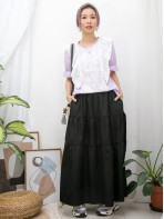 2011-1280A - fancy・color -袖口橡根 X 前幅通花刺繡恤衫料 X RUFFLE邊 , 淨色COTTON料TOP (韓國)
