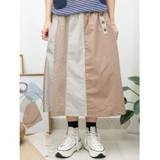 2015-1091A- 特式・拼布 - 兩側袋 X 橡根腰 , 直紋 X 淨色恤衫料 X 通通 , 點點刺繡 , 半截裙 (韓國)0