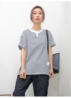 2011-1262A-日系・橫間- 領位小開叉 X 前幅小袋仔 , 前幅橫間COTTON料 X 後幅淨色恤衫料TOP (韓國)
