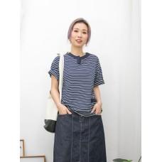 2011-1262-日系・橫間- 領位小開叉 X 前幅小袋仔 , 前幅橫間COTTON料 X 後幅淨色恤衫料TOP (韓國)