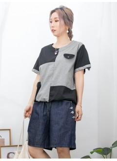 2011-1302 - 日系・拼布 -下擺束繩 X 單邊側袋 X 單邊前袋位 , 細格仔 PATTERN X 淨色麻棉料TOP (韓國)
