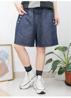 2015-1095A- 人氣・靚Cutting - 兩側袋 X 袋邊釘鈕 ,  橡根腰 X 牛仔料短褲 (韓國)