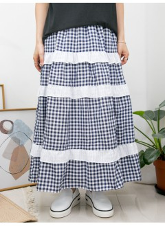 2015-1094 - 蛋糕裙 -兩側袋 X 橡根腰 , 層層直紋恤衫料RUFFLE邊 X 格仔PATTERN恤衫料半截裙 (有厘布) (韓國)