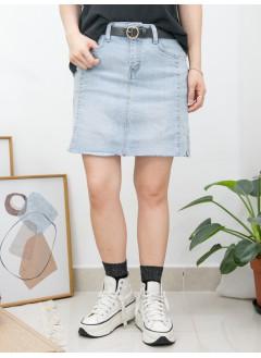 2015-1096 - 型格・裙褲 -下擺兩旁開叉 X SOSO邊 , 牛仔料裙褲 (韓國)