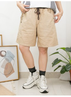 2015-1095-人氣・靚cutting- 兩側袋 X 袋邊釘鈕 , 橡根腰 X 麻棉料短褲 (韓國)