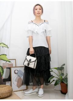 2011-1291A - 隨意美 -胸位RUFFLE X 領位拼色羅紋料 , 直紋恤衫料 X 前 , 後V領 TOP (韓國)
