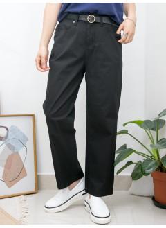 2015-1098A-夏日・舒適- 兩側袋 X 後腰橡根 , 扯布料直腳褲 (韓國)