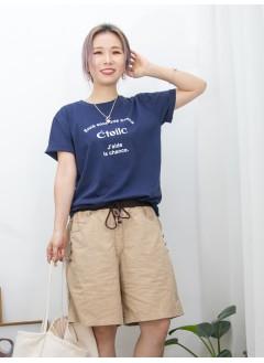 2011-1293-法式・美感- ' CTOILC ' 英文字PRINT X COTTON料TOP (韓國)