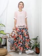 2011-1288 -清雅・美感-前幅下擺拼色羅紋 X 點點 , 通花刺繡雪紡料 , 淨色雙面料 TOP (韓國)0