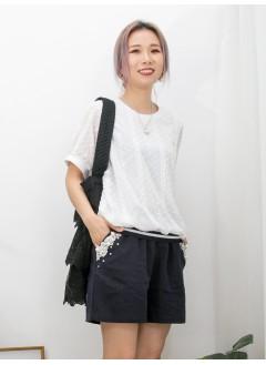 2011-1288A - 清雅・美感 -前幅下擺拼色羅紋 X 點點 , 通花刺繡雪紡料 , 淨色雙面料 TOP (韓國)