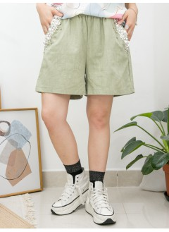 2015-1097A - 蕾絲・珍珠 -兩側袋 X 袋邊釘珍珠 , 銀波波 , 後袋位LACE X 橡根腰 , 麻棉料短褲 (韓國)