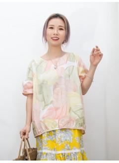 2011-1292A - 日系・色彩 -不規則PATTERN X 下擺包邊 , 恤衫料TOP (韓國)