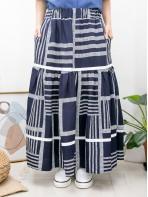 2015-1103-幾何・Aline- 層層拼色織帶 X 打摺 , 橡根腰 X 兩側袋 , 橫紋 X 直紋恤衫料, 半截裙 (有厘布) (韓國)0