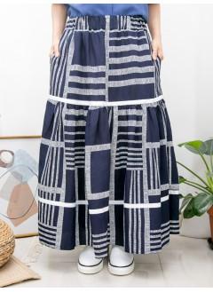 2015-1103-幾何・Aline- 層層拼色織帶 X 打摺 , 橡根腰 X 兩側袋 , 橫紋 X 直紋恤衫料, 半截裙 (有厘布) (韓國)