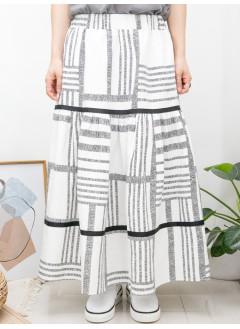 2015-1103A- 幾何・Aline -層層拼色織帶 X 打摺 , 橡根腰 X 兩側袋 , 橫紋 X 直紋恤衫料, 半截裙 (有厘布) (韓國)