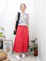 2011-1296A - 水彩畫風 -領位 , 袖口拼色羅紋 X 花花PATTERN , 恤衫料TOP (韓國)-