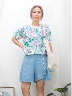 2011-1296-水彩畫風- 領位 , 袖口拼色羅紋 X 花花PATTERN , 恤衫料TOP (韓國)-