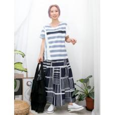 2011-1306-甜美・橫間- 拼色織帶 X 手袖 , 前幅橫間 X 後幅淨色COTTON料TOP (韓國)0