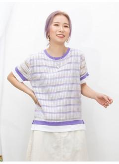 2011-1300-型格・條子- 下擺兩旁開叉 X 拼色橫間 X 直紋 , 網布料TOP (有厘布) (韓國)-