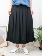 2015-1080A - 百褶・氣質 - 單邊袋位 X 單邊百摺 , 橡根腰 X 滑滑料裙褲 (韓國)0