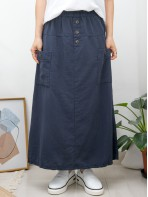 2015-1093A - 優美・日系 - 前兩袋 X 橡根腰 , 後幅下擺開叉 X 麻棉料半截裙 (韓國)0