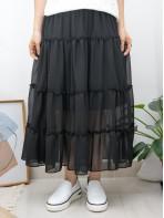 2015-1105-雪紡・飄逸- 層層打摺 X RUFFLE邊 , 橡根腰 X 雪紡料半截裙 (有厘布) (韓國)