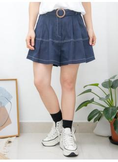 2015-1104-裙褲仔- 後腰橡根 X 前腰打摺 , 兩側袋 X 拼色車線 , 麻棉料短褲 (連腰帶) (韓國)0