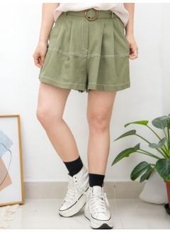 2015-1104A-裙褲仔- 後腰橡根 X 前腰打摺 , 兩側袋 X 拼色車線 , 麻棉料短褲 (連腰帶) (韓國)0