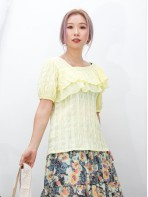 2011-1318A - 女人味 -胸位DOUBLE LAYER X 雪紡料 , 斜V領位 X 縐縐麻棉料TOP (韓國)0