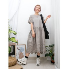2016-1069-日系・氣質- 兩側袋 X 腰位打摺 , 手袖 , 下擺通花刺繡麻棉料OPS (韓國)0