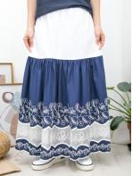 2015-1111- 民族・蕾絲 - 下擺通花刺繡 X 網布 , 橡根腰 X 拼色恤衫料, 半截裙 (有厘布) (韓國)