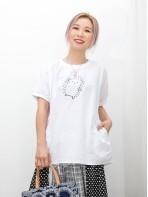 2011-1333A-刺蝟・BB- 兩側袋 X 刺蝟PRINT , 袖口 , 領位羅紋料 X 麻棉料TOP (韓國)0